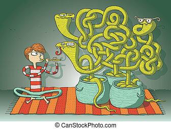 labirinto, cobra, gioco, serpenti