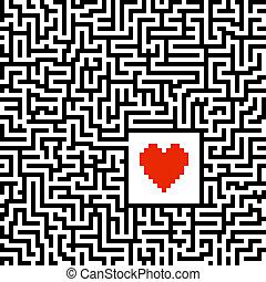 labirinto, con, cuore