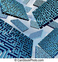 labirinto, confusão, conceito