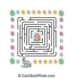 labirinto, coniglio pasqua, illustrazione