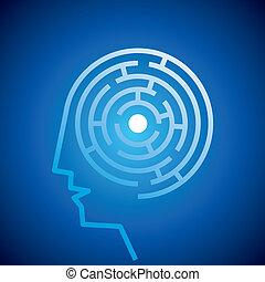 labirinto, dentro, mente, confundido