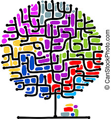 labirinto, desenho, seu, árvore