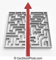 labirinto, direito, através, linha, vermelho