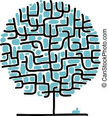 labirinto, disegno, tuo, albero