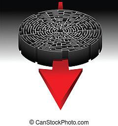 labirinto, e, il, direzione, a, succ