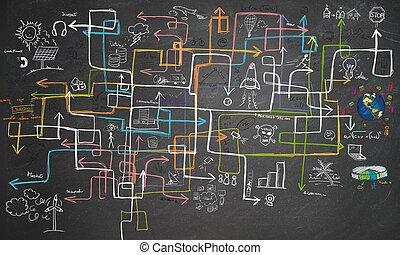labirinto, energia, poupar