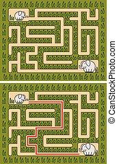 labirinto, fácil, elefante