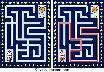 labirinto, fácil, foguete