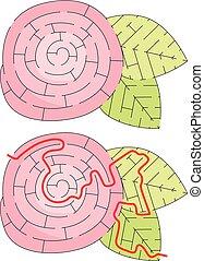 labirinto, flor, fácil