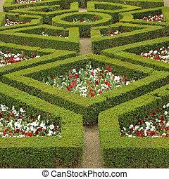 labirinto, flowerbed, em, boboli, jardins, em, florença,...