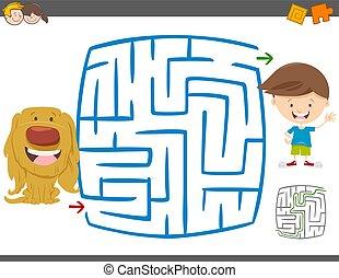 labirinto, gioco, attività agio