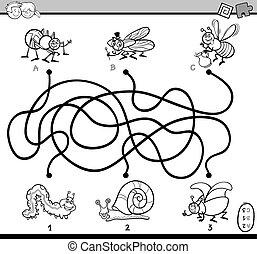 labirinto, gioco, coloritura, pagina