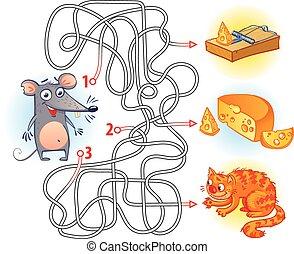 labirinto, gioco, con, soluzione