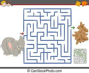 labirinto, gioco, ozio, elefante