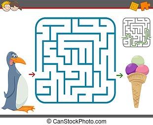 labirinto, gioco, ozio, pinguino