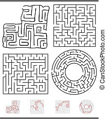 labirinto, gioco, set, ozio, grafica