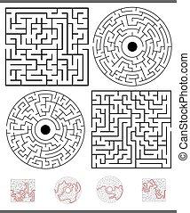 labirinto, gioco, set, soluzioni, ozio
