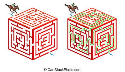 labirinto, horseriding, cubico