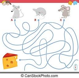 labirinto, jogo, rato, caráteres