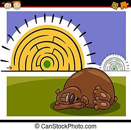 labirinto, labirinto, gioco, cartone animato, o