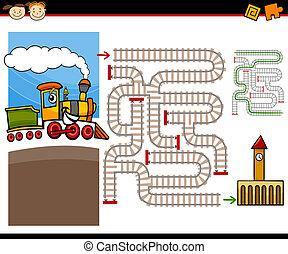 labirinto, labirinto, jogo, caricatura, ou