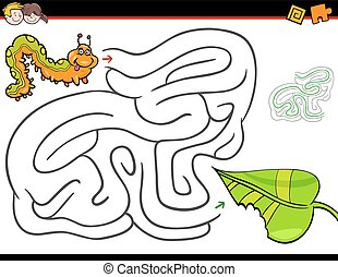 labirinto, lagarta, folha, caricatura, atividade