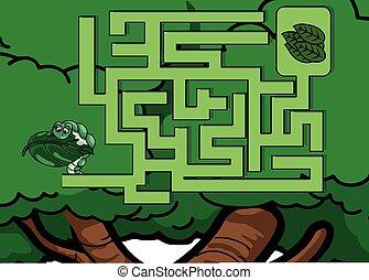 labirinto, lagarta, problema