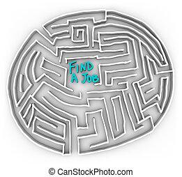 labirinto, lavoro, -, trovare, circolare