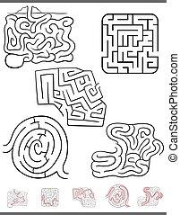 labirinto, lazer, jogo, jogo, com, soluções