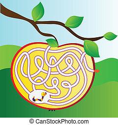 labirinto, maçã, verme