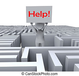 labirinto, mostra, ajuda, perdido, sinal