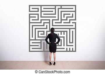 labirinto, mulher, olhar, negócio