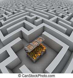 labirinto, peito, tesouro