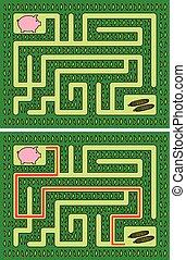 labirinto, porquinho, fácil