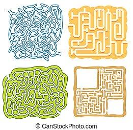 labirinto, puzzle, set, gioco, sagoma