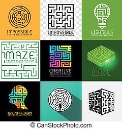 labirinto, puzzle, vettore, collezione