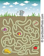 labirinto, rato, queijo, jogo