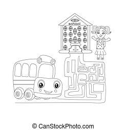 labirinto, scuola, carino, autobus