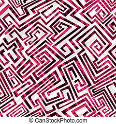 labirinto, seamless, vermelho, padrão