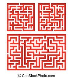 labirinto, set, illustrazione