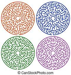 labirinto, set, rotondo