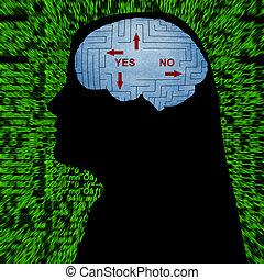 labirinto, sim, mente, ou, não