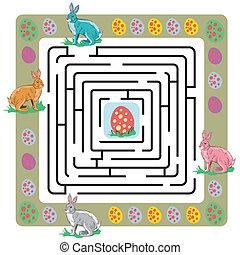 labirinto, uova, coniglietti, pasqua