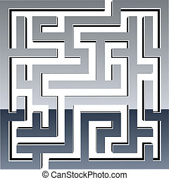 labirinto, vettore, baluginante, 3d
