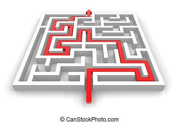 labirintus, út, keresztül