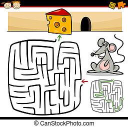labirintus, útvesztő, játék, karikatúra, vagy