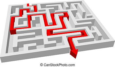 labirintus, útvesztő, rejtvény, -