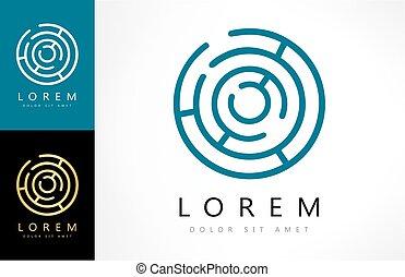 labirynt, abstrakcyjny, rebus, logo., zagadka, logic.