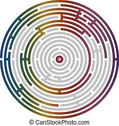 labirynt, zagadka, abstrakcyjny, okólnik, logika