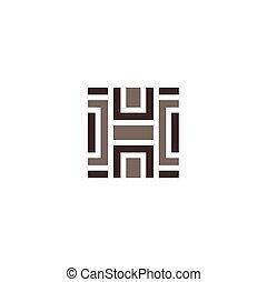labirynt, zagadka, wektor, dachówka, logo, ikona